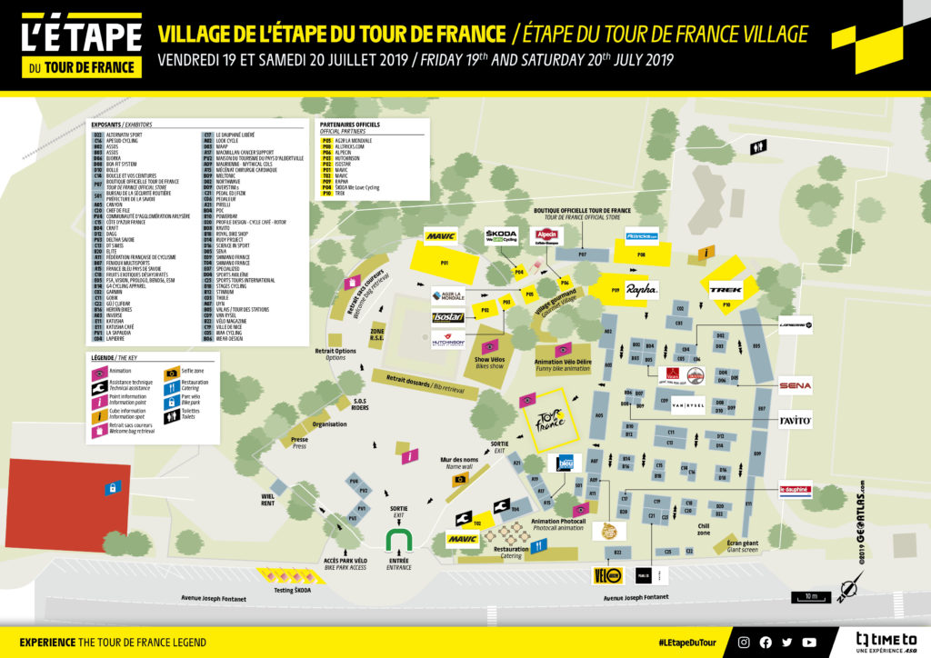 Plan du village de l'étape du tour 2019 à Albertville