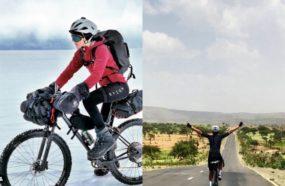 Aventurière à vélo